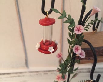 Miniature Hummingbird Feeder, Red Mini Feeder, Dollhouse Miniature, 1:12 Scale, Dollhouse, Miniature Yard & Garden Decor, Accessory