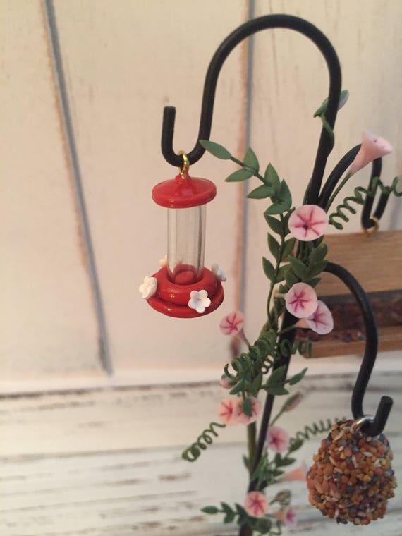 Miniature Hummingbird Feeder, Red Mini Feeder, Dollhouse Miniature, 1:12 Scale, Dollhouse, Miniature Yard & Garden Decor, Accessory