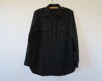 1950s Vintage Military Issue Black Wool Field Shirt - Korean War Era - Chest 40 Neck 14 1/2