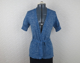 1970s Blue Cardigan Sweater - Short Sleeve Belted Cardigan By Sheridan - Bust 34