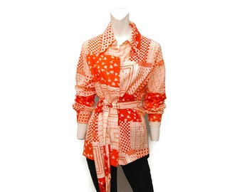 1970's Vintage Belted Tunic Blouse Collared Button Down Shirt Women's Orange and White Patterned DonnKenny Top Patchwork Geometric Print