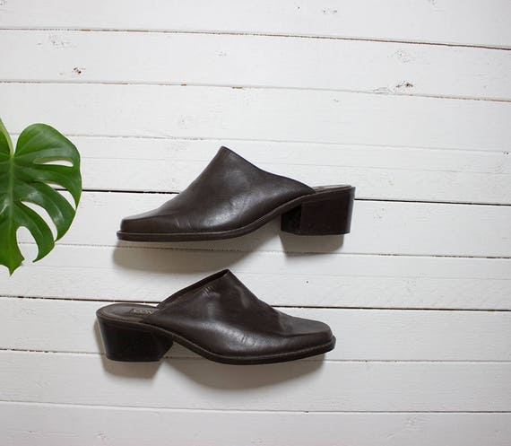 Vintage Leather Mules 8.5 / Brown Leather Mules / Slip On Mules / Brown Leather Slip Ons