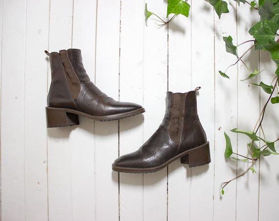 Vintage Chelsea Boots 6 / Italian Leather Ankle Boots / Brown Leather Boots / Brown Leather Chelsea Boots / Ankle Boots Women