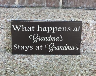 What Happens At Grandma's Custom Wood Sign~Mother's Day Gift~Personalized Grandparent Gift~Nana's House~Grandma Gift~Mimi Gift~Gift For Mimi