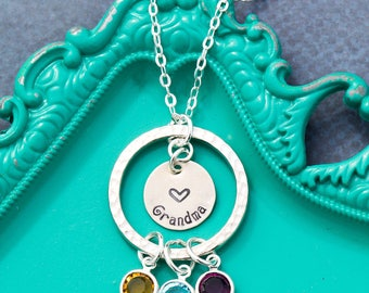 Eternity Necklace Grandma Gift Mom Birthstone Jewelry • Grandma Birthday Gift • Birthstone Necklace Infinity Circle Eternity