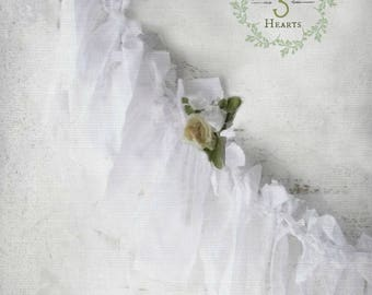 Shabby Chic White Wedding Garland. Rag Tie Fabric Garland. Woodland Wild Rosettes. Nursery Decor. Cottage Chic Decor. Holiday Winter Decor