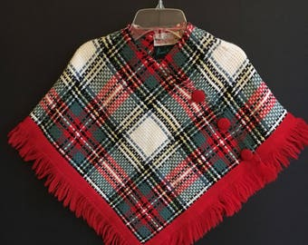 Vintage Little Girls Plaid Cape / Poncho - Wool - Scotland - Handwoven
