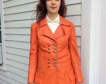 Orange Leather Jacket Mod Double Breasted 70s Vintage S