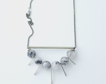 CIVAL Collective - Kitt   Pendant   Geometric Jewelry   Crystal Necklace   Modern Statement    Natural stone Necklace   Black & White