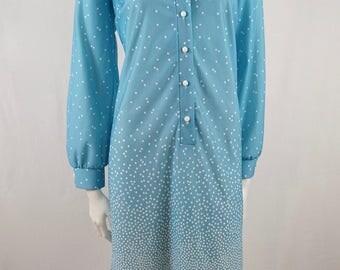 Vintage 60s 70s Osti Classic Sky Pastel blue and White Polka Dot Button Long Sleeve Retro Dress