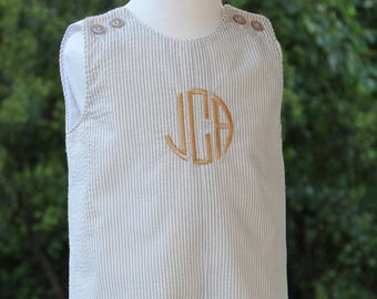 Baby Boy Traditional Romper Khaki Striped Seersucker with Embroidered Monogram 3 months - 4T