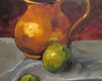 Copper and Limes oil painting still life 10x8 Art by Delilah
