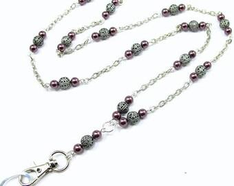 Cute ID Lanyard, Women's ID Lanyard Necklace with Pearls and Filigree Beads, Pearl Lanyard, Beaded Lanyard, Breakaway Lanyard, Work Badge