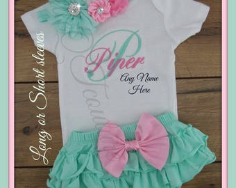Newborn, Baby girl, coming home outfit, take home outfit, baby girl clothes, baby girl outfit,  baby girl bodysuit, ruffle bloomer, skirt
