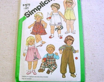 Vintage 80s Pattern - Toddler Overalls,Sundress,Jumper,Bubble Suit - Simplicity 5333 -Size 3 plus Embroidery Transfers