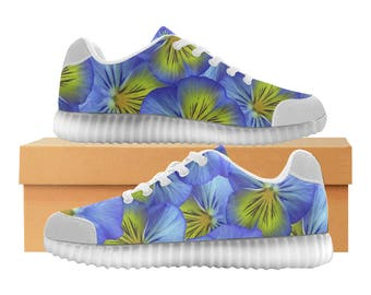 Pansies LED Light Up Shoes | Kids & Womens Sizes | High Stretch Upper | EVA + Mesh Fabric Insole | 7 Colors | Bold Street Artist Design