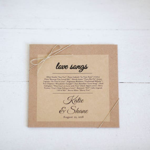Kraft Stickers for CD sleeves- 4in x 4 in- Set of 12  || Wedding labels & stickers, Wedding love song favors, affordable wedding favors