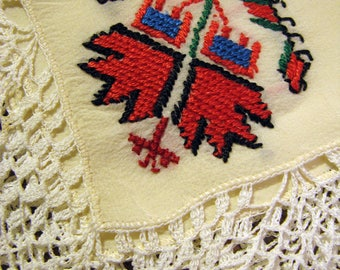 Delightful Greek Motif SILK Handkerchief with Thick Crocheted Lace and Needlepoint