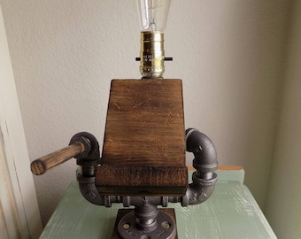Industrial Pipe Table Lamp With Wood Docking Station