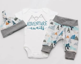 Adventure Awaits Newborn Coming Home Outfit, baby boy coming home outfit-Jersey knit Leggings, Knot Hat, and Bodysuit