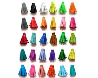 1.5 Inch - Handmade Fiber Tassels, Leather Tassels, Rainbow Color Tassels, Jewelry Making Supplies, Crafting Supply Tassels, Jewelry Tassels