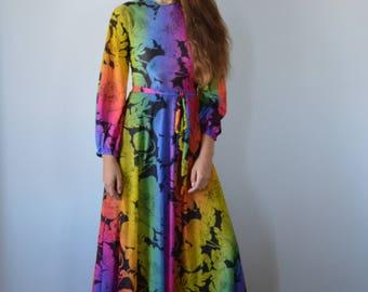 Vintage Maxi Dress, Vintage 1970s Maxi Dress, Fosters, Vintage Evening Gown, 1970s Dress, Floral Maxi Dress, Maxi Dress