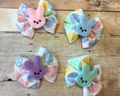 Easter Bow / Marshmallow Bunny Bow / Bunny Feltie / Easter Egg Bow / Grosgrain Bow / Girls Bow / Feltie Bow /  Pink Bunny / Purple Bunny