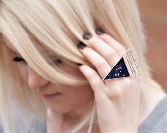 Black Large Ring - Womens Modern Jewelry For Her - Silver or Gold Triangle Ring - Statement Jewelry Her - Geometric Ring Bling Bling Ring