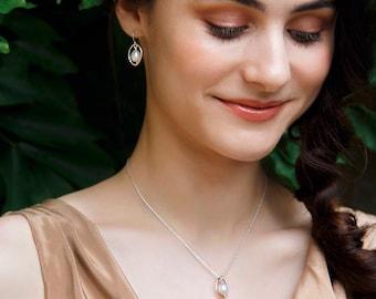 Dainty pearl earrings, oval pearl earrings, gift for daughter, sister, wife - Ophelia