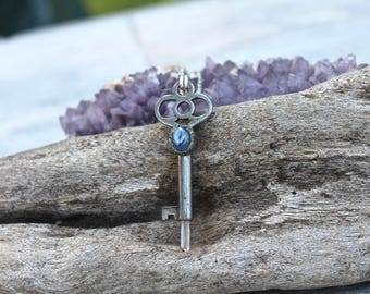 Skeleton Key Pendant, Kyanite Jewelry, Quartz Crystal Necklace, Wiccan Jewelry, Pagan Necklace, Festival Fashion, Boho Chic, Hippie Jewelry