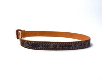Black and White Guatemalan Leather Belt, Size 36