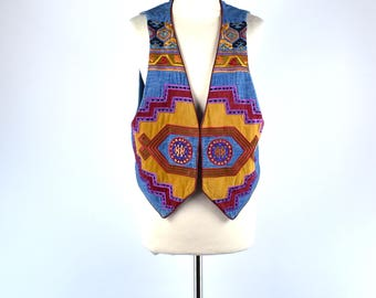 Hairston Roberson 'Ropa' Southwestern Boho Chic Embroidered Denim Vest, Size Medium-Large, Made in the USA, 100% Cotton