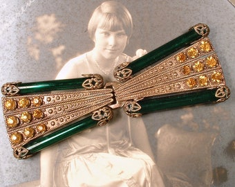 ANTIQUE Victorian/Art Deco Emerald Wedding Dress Sash Belt Buckle, Vintage 1900 - 1920 Green Glass Tube Gold Crystal Filigree Great Gatsby