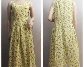 Buttercup Yellow Dress with Blue Flowers // Yellow Summer Dress