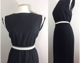 Black Dress with Button Shoulder Detail // Black and White Dress with Matching Belt