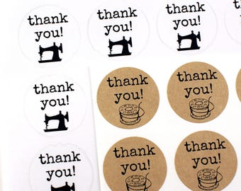 THANK YOU labels with sewing machine of thread bobbin - typewriter font labels - thank you stickers for seamstress, handmade items, packages