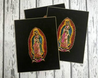 Vintage Mexican Straw Art - Virgin of Guadalupe Straw Mosaic - Straw Painting - Mexican Folk Art - Our Lady of Guadalupe - Mexican Madonna