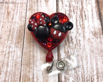 Mickey Minnie Mouse Ears Animal Bling Heart Crystal Medical Disney Badge Reel Retractable ID Holder Name Tag Nurse CNA RN Technician CPhT