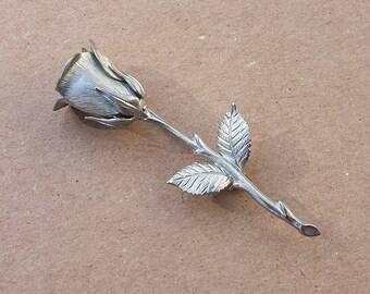 Long Stem Rose Flower Silvertone Brooch Vintage