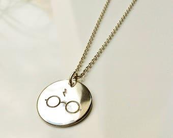 Harry Potter Glasses Necklace . Harry Potter Jewelry . Sterling Silver Harry Potter Necklace . Tatum Bradley