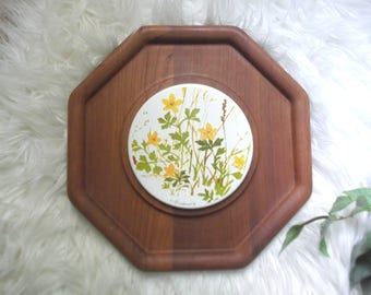 Teak Wood Cheese And Cracker Tray Teak and Tile Trivet Goodwood Boho Decor Hippie Kitchen
