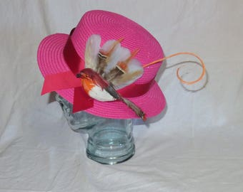 "Mary Poppins Hat- Pink Straw Hat Inspired by the New Film ""Mary Poppins Returns"""