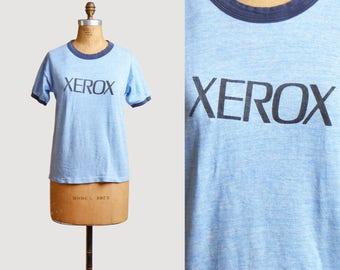 Vintage 80s T Shirt Xerox Soft Shirt Thin Retro TShirt / Printer Graphic Ringer Tee Heather Blue Medium