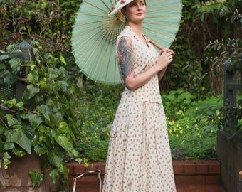 ADiorable Social Event - Vintage 1950s  Rayon Floral Rosebud Skirt Set - 12/14