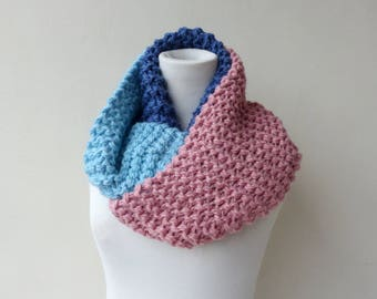 Blue Infinity scarf Cowl Multicolour Pink Chunky Scarf Colorful Womens Winter Accessory