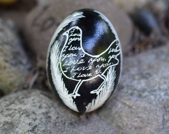 I Love You note on real egg symbol of new live by Toronto artist Katya Trischuk beautiful black and white home decor