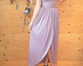 Vintage 70's Lilac Maxi Gown Prom Dress Dramatic One Shoulder Straps Detail SZ S