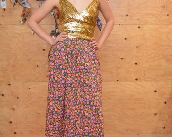 Vintage 60s Boho Gypsy Bright Floral MOD Maxi Skirt In Hot Pink Size S