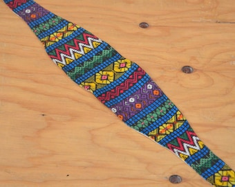 Vintage Belt Ethnic Embroidered Woven Rainbow Made Of Fabric Ties In Back