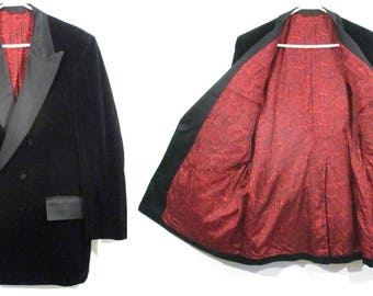 Vintage BLACK VELVET SPORTCOAT Blazer Jacket Smoking Red Lining Rockabilly 50's